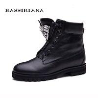 BASSIRIANA Nuevos Botines Zip moda otoño invierno zapatos botas corto zapatos de las mujeres botas de metal de la manera venta 35-40