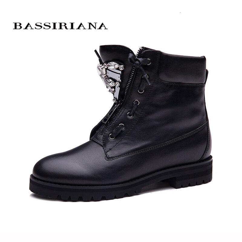 Bassiriana nuevo Botines zip moda Otoño Invierno corto mujeres Botas moda metal Botas venta 35-40