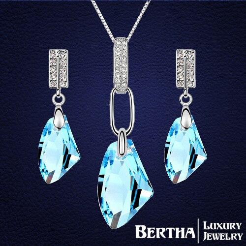 Ensembles de bijoux élégants de luxe boucles d'oreilles colliers pendentifs pour femmes mariées petite amie cristaux de mariage Swarovski