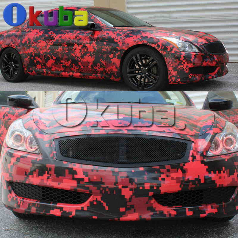 Military Digital Army Camo Vinyl Car Wrap Woodland Pixel Red Tiger - Plastic stickers for cars