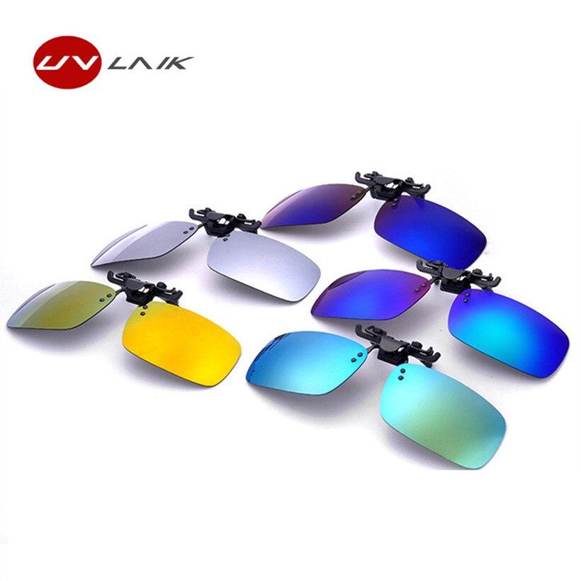 UVLAIK Mens Polarisierte Clip auf Sonnenbrillen Männer Frauen Myopie Flip Up Sonnenbrille Nachtsicht Fahren Clip auf Gläser
