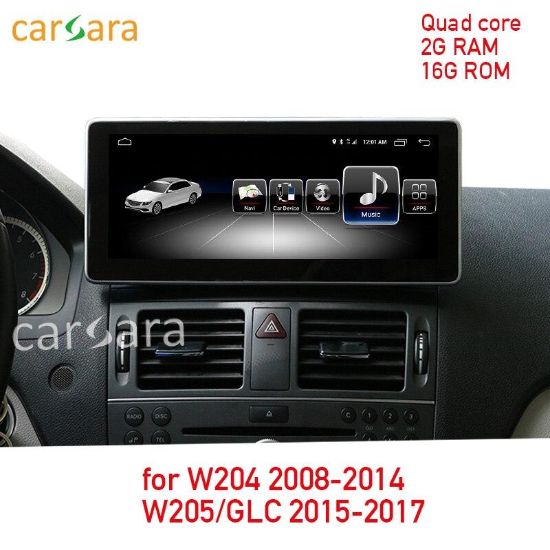 2G RAM 16G ROM Android Сенсорный экран для класса C W204 2008-2014 W205 GLC 10,25 дисплей gps навигации Радио мультимедийный плеер