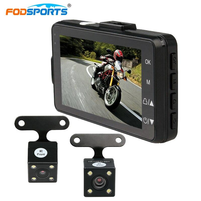 Fodsports 3 дюймов мотоцикл камеры DVR 720 P мотоцикл видеомагнитофон двойной объектив камеры видеорегистратор широкий угол обзора 120 градусов-sensor