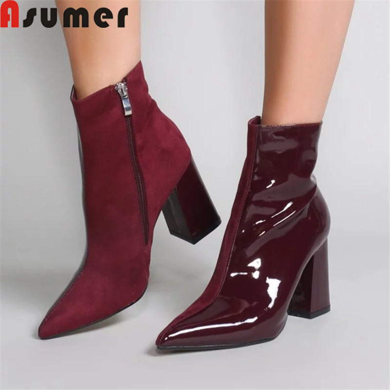 ASUMER 2019 fashion autumn winter boots women pointed toe zip patent leather boots high heels shoes