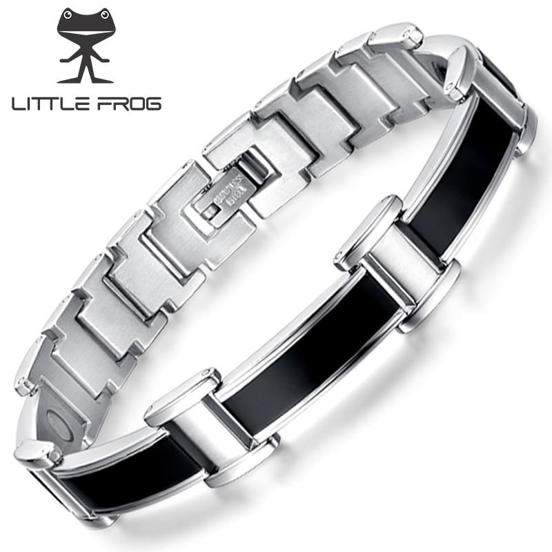 LITTLE FROG  Black Magnetic Bracelet Men Punk Stainless Steel Men Bracelet Benefits Health Energy Chain Link Bangle Bracelet