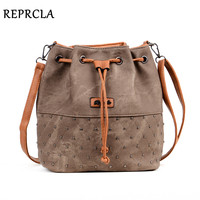 REPRCLA New Rivet Bucket Bag Women Shoulder Bag Vintage Crossbody Women Messenger Bags Handbags Women Bags