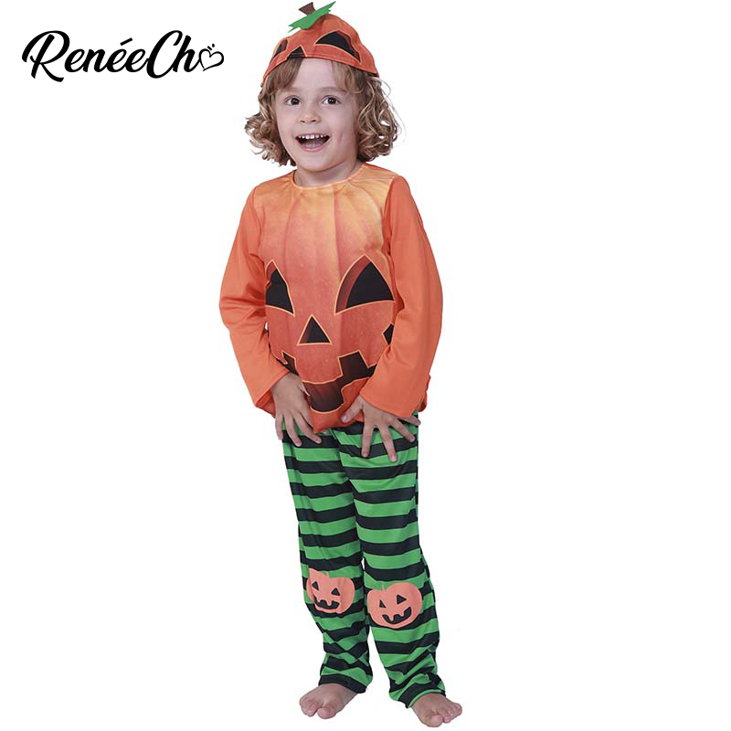 Reneecho 2018 New Arrival Halloween Costumes For Kids Child Pumpkin Costume Toddler Boys T Shirt Pants Hat Suit For 1 - 6 years
