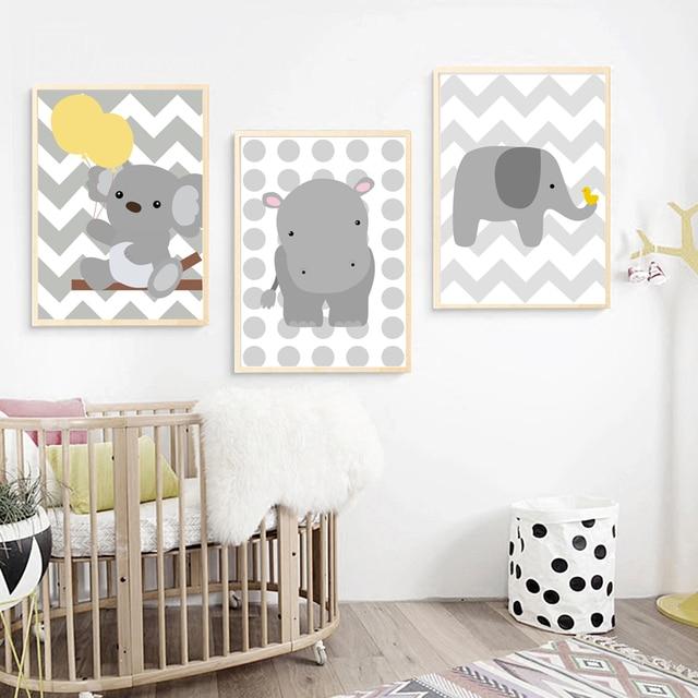Cartoon Bear Elephant Hippo Wall Art Canvas Painting Nordic Posters ...
