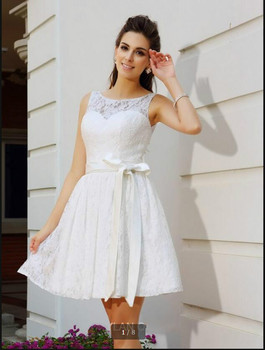 New arrival 2016 white lace short wedding dress petite girls sleeveless open back sexy informal wedding dresses custom made