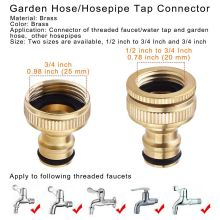 2PCS Brass Garden Hose/Hosepipe Tap Connector 1/2 Inch and 3/4 2-in-1 Female Threaded Faucet Adapter Water