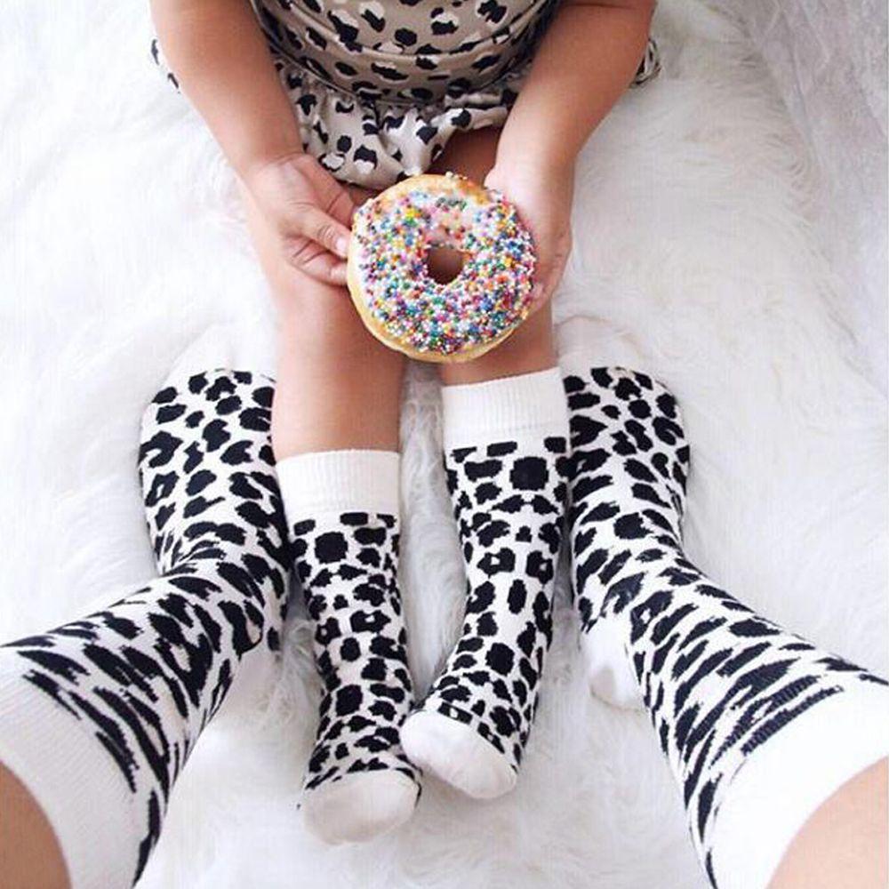 1 Pair Leopard Printed Unisex Adult Men Women Kids Long Long Cotton   Socks   Family Matching Parent-child   Socks