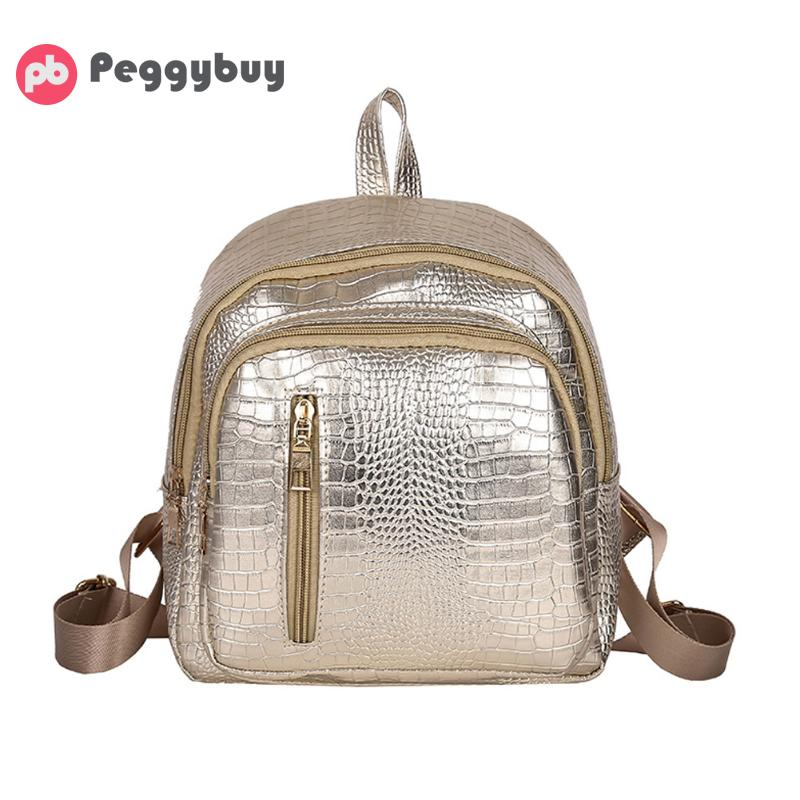 Fashion Women Small Backpack Bright PU Leather Leisure Backpack Women Portable Travel Backpack College Wind Students School Bags