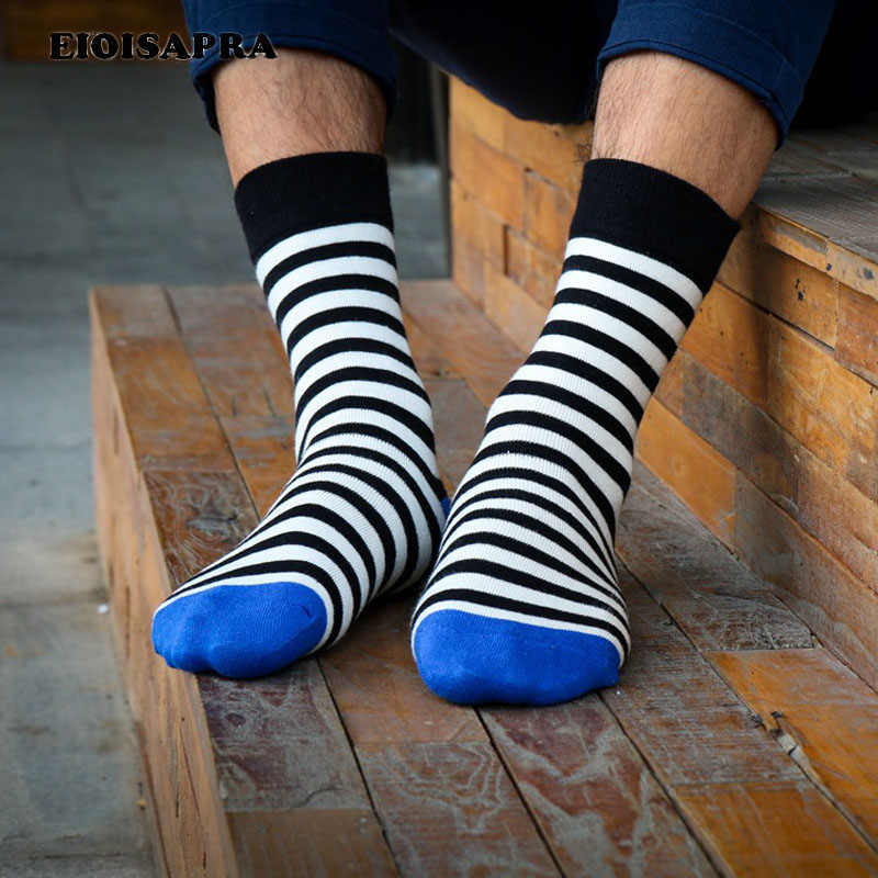 [EIOISAPRA]British Style Happy Socks Men Point/Striped Skateboard Hip Hop Socks Harajuku Casual Meias Unisex Calcetines Hombre