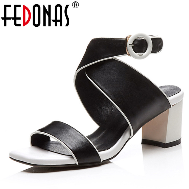 FEDONAS Women Sandals Summer Open Toe Women's Genuine Leather Shoes Woman Black White Gladiator Party Shoes Ankle Strappy Sandal phyanic 2017 gladiator sandals gold silver shoes woman summer platform wedges glitters creepers casual women shoes phy3323