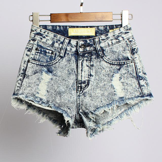 2017 Calções de Verão Do Vintage Da Moda Borla das Mulheres Rasgado Cintura Alta Short Jeans Sexy Buraco Denim Shorts Mulher WSSL016