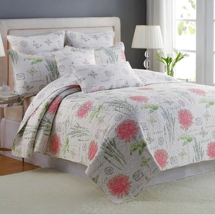 luxury cotton quilting quilts europe morden floral brief bedspread king size 3pcs set bedcover waterwashed quilt