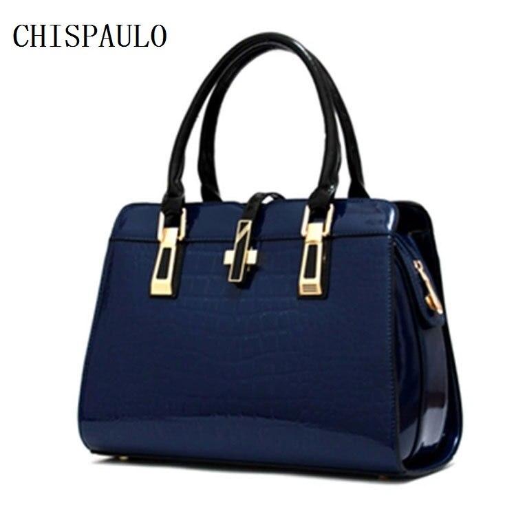 CHISPAULO Famous Brand Women patent PU Leather Handbags Vintage  Bolsa Femininas Women leather handbags Vintage Fashion hot F328