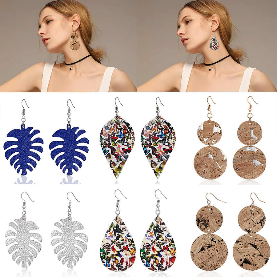 New Vintage Banana Leaf Leather Earrings Animal Print Leaves Imitation Bark Earrings for Women Fashion Dangle Earring Jewelry