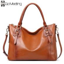 Go Meetting Brand Women Genuine Leather Handbags High Quality Cowhide Women Shoulder Bag Vintage Design Crossbody Messenger Bags