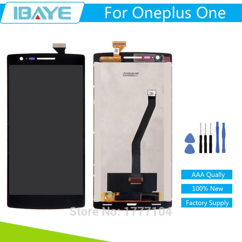 Prix pour LCD écran Pour OnePlus One 1 + A0001 One Plus LCD Numériseur Affichage et Écran Tactile Digitizer Assemblée Remplacement Noir OEM