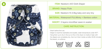 Happy Flute Organic Cotton Newborn Diapers Tiny AIO Cloth Diaper Double Gussets Waterproof PUL Fit 3-5KG Baby