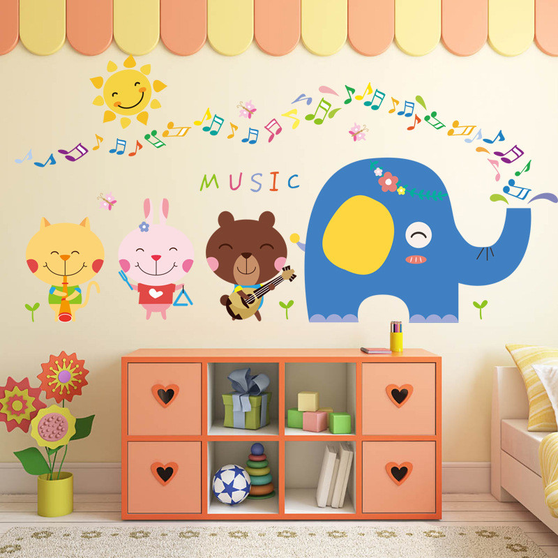 Cartoon Lovely animals happy note cat pink rabbit small elephant wall stickers for kids rooms poster home decor living room