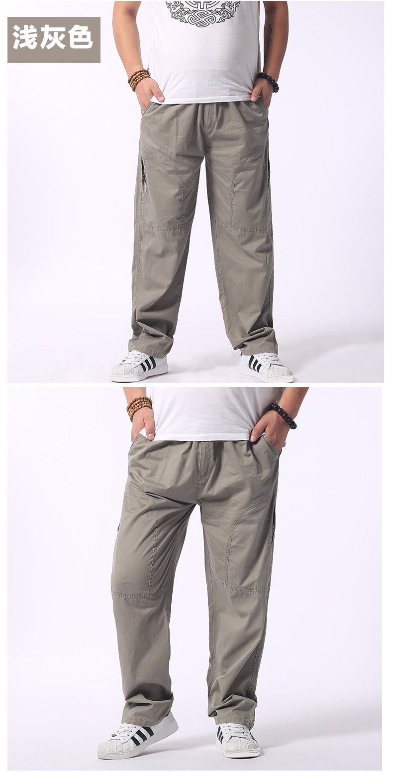 Man Loose Fitting Cargo Pants Yellow Black Gray Khaki  Overall For Mens Cotton Comfort Trousers Elastic Waist Pant American Apparel (10)
