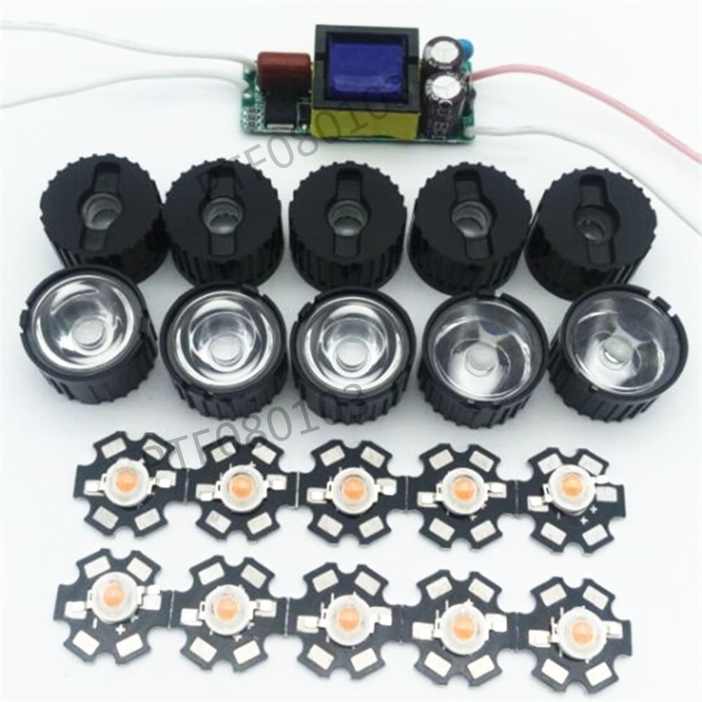 10X 3W Plant Grow Full Spectrum 380-840nm High Power LED + 10pcs lens + 1pcs 6-10x3w driver