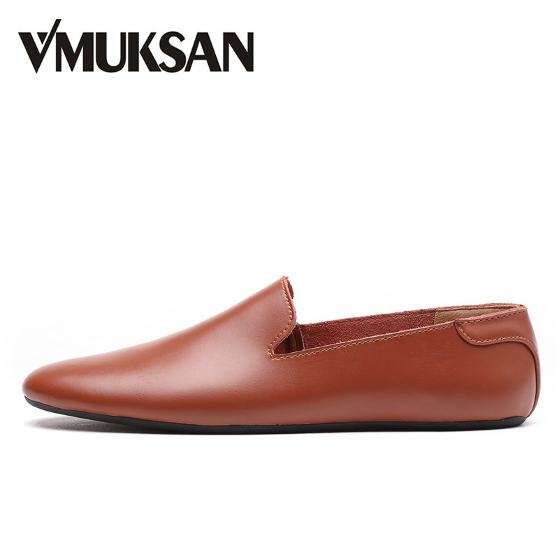 VMUKSAN High Quality Leather Men Casual Shoes Slip On Fashion Mens Loafers 2018 Brand Designer Man Moccasins new 2017 men s genuine leather casual shoes korean fashion style breathable male shoes men spring autumn slip on low top loafers