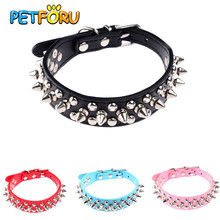 Petforu PU Leather Puppy Dogs Collar Round Bullet Nail Rivet Collar Punk Style Spiked Studded Strap Dog cat Neck Collar(China)