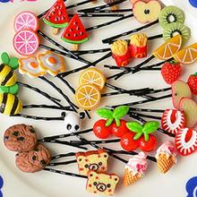 Kids Girls Cute Headwear Fruit Hair Curler Tools Clips Pins Hairpin Accessories Random Colors Beauty Metal Pince A Cheveux