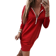 0541182a5c3 Women Red Dress Kawaii Hooded Dresses Pockets Autumn Winter Long Sleeve  Back Split Zipper Hoodies Dress Outwear Plus Size M0077