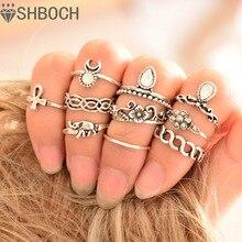Старинное костяшки уникальные anillos резные boho серебро пляж кольца старинные кристалл