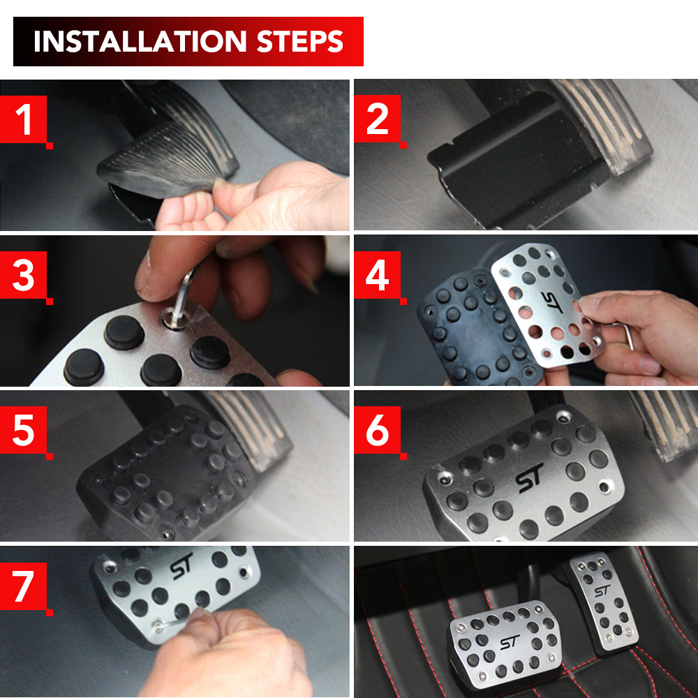 Image 5 - Stainless Car Pedals Covers for Ford Focus 2 3 4 MK2 MK3 MK4 Kuga Escape RS ST 2005 2017 Clutch Gas Brake Pedal Set Pads-in Pedals from Automobiles & Motorcycles