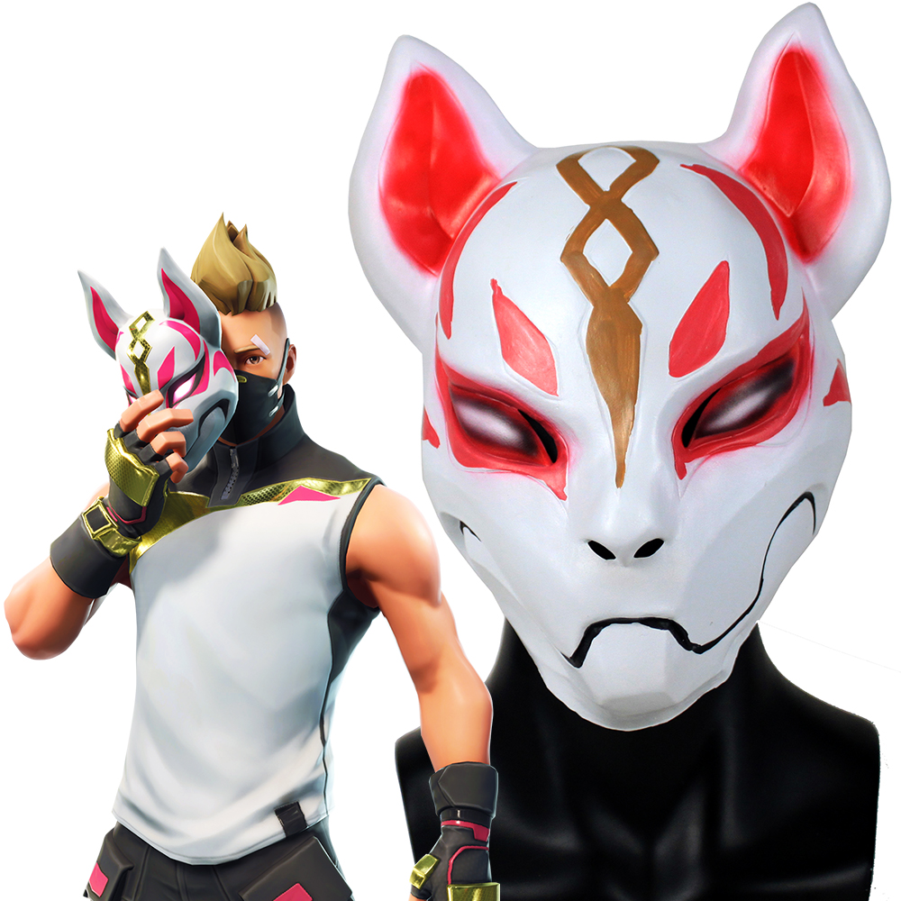 Game Battle Royale Fox Kitsune Mask Cosplay Drift Masks Latex Full Face Adult Helmet Halloween Party Props DropShipping