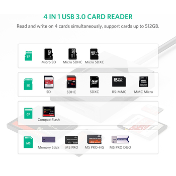 Ugreen Card Reader USB 3.0 All in One SD/Micro SD/TF/CF/MS Compact Flash Smart Memory Card Adapter Type C OTG SD Card Reader