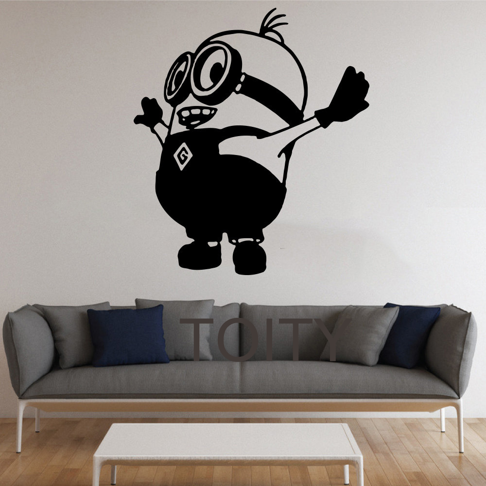 Minion wall stickers cute cartoon vinyl decals nursery for Mural alternatywy 4