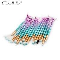 15PCS Mermaid Shape Makeup Brush Fish Tail Powder Eyeshadow Contour Blending Cosmetic Eyes Makeup Brushes Maquiagem