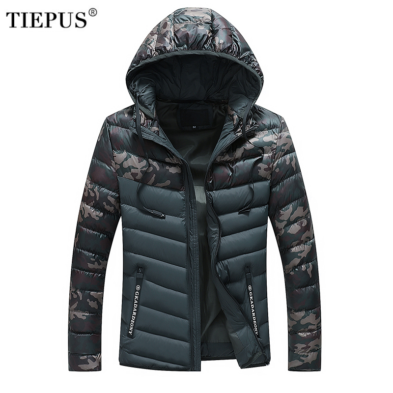 TIEPUS Winter Jacket Men Hooded light Cotton Padded down jacket coat Clothing warm Male camouflage military   Parkas   coat M~3XL