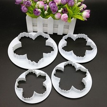 Baking Tools 4pcs Peony Flower Fondant Cake Print Cutting Mold Biscuits DIY