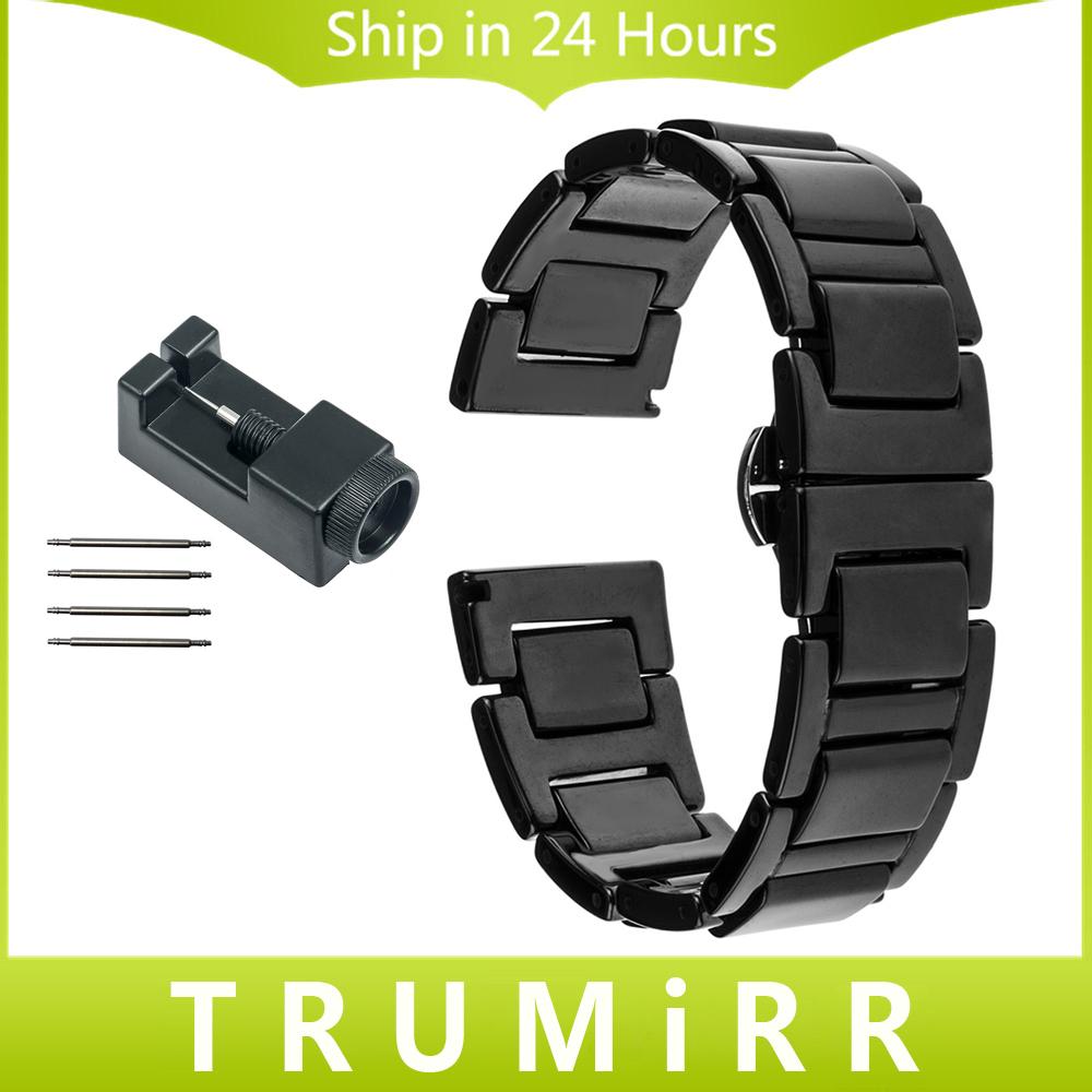 Prix pour 20mm Plein En Céramique Bracelet pour Samsung Gear S2 Classic (SM-R7320) Moto 360 2 42mm Hommes Montre Bande Butterfly Boucle Bracelet + Outils