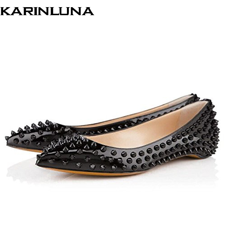 Karinluna 2019 plus size 45 brand design fashion sexy rivets Shoes Woman spring summer slip on pointed toe date OL flats shoesKarinluna 2019 plus size 45 brand design fashion sexy rivets Shoes Woman spring summer slip on pointed toe date OL flats shoes