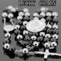 Hot Sale New Men S Stainless Steel Silver Black Plated Rosary Lucky Chain Necklace Women S
