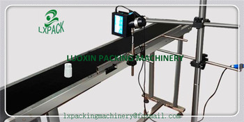 LX-PACK Lowest Factory Price Carrier Belt Conveyor for Bottles Food Products Customized Moving Belt Rotating Table Printer Stand
