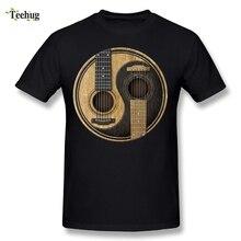 купить Guitars Yin Yang T-Shirt Graphic 3D Print Tees Novelty Music T Shirt дешево