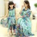 Meninas vestido mãe & kids verão estilo bohemia chiffon praia vestido crianças roupas da moda mãe e filha se veste meninas clothing
