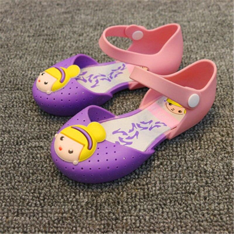 2017 Sommer Nettes Mädchen Sandalen Gelee Schuhe Prinzessin Druck Schuhe Wasserdichte Rutschfeste Atmungsaktive Kinder Schuhe Kämpfen Farbe