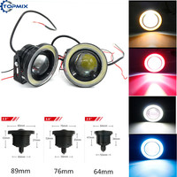 2pcs Waterproof Projector LED Fog Light With Lens Halo Angel Eyes Rings 30W White Blue Red