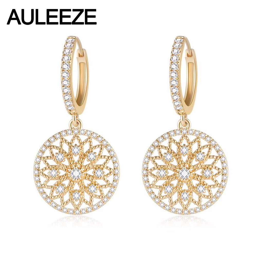 AULEEZE Vintage 0.458cttw Natural Real Diamond Drop Earrings Solid 18K Yellow Gold Earrings For Women Party Fine Jewelry gold earrings for women