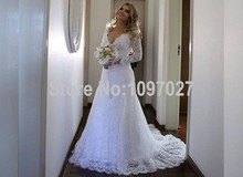 Sexy Deep V Neck Long Sleeve White Lace Wedding Dress Sweep Train Country Western Vestido De Sirena Bride Dress With Bow AS83